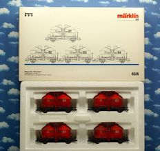 Märklin H0 - 4514 - Carriage set, four silo carriages of the WLE
