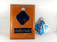 Vintage RAC Commerative Award 50 Years Associate Membership Award Badge and Vintage RAC - Royal Automobile Club Car Auto Badge - 11 cm x 8.5 cm