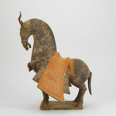 A Painted grey pottery figure of a caparisoned horse Northern Wei Dynasty - 34 cm