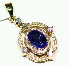 1.12 ct tanzanite and diamond necklace in 14 k yellow gold