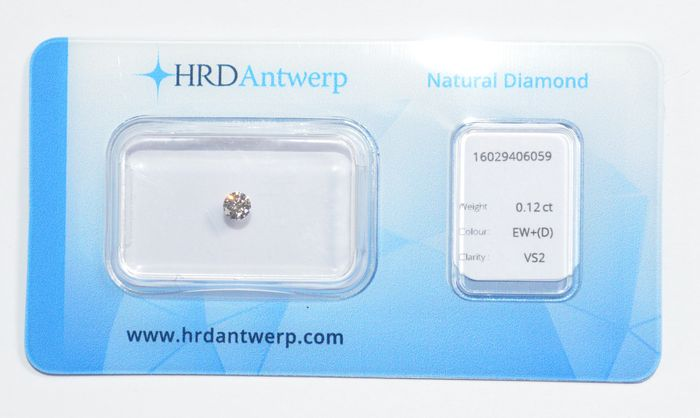 0.12 ct brilliant cut diamond, EW+ (D), VS2