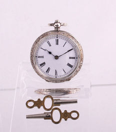 Key-wound pocket watch in 935 silver, 1900