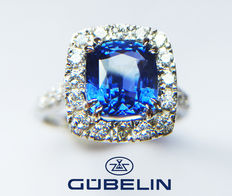 3.65ct Untreated Sapphire and Diamond Ring made from 18kt White Gold - LOW RESERVE-