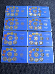 Germany - year collections 1982 D, F, G, J and 1983 D, F, G, J complete (8 pieces)