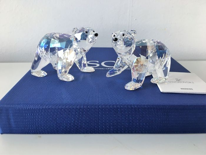 Swarovski - silver crystal 2011 Polar bear cubs Moonlight
