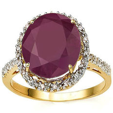 14k Gold  ring with  ruby and diamonds 0,16 ct - Ring Size: US 7