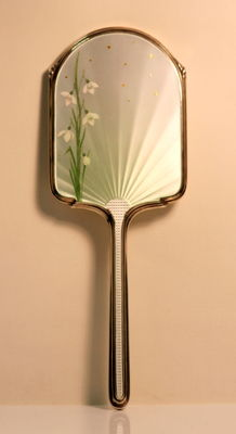 Silver and enamel mirror, Albert Carter, Birmingham, 1938