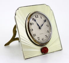 "Collett & Anderson - Art Deco silver and enamel ""8 Days"" manual winding clock"