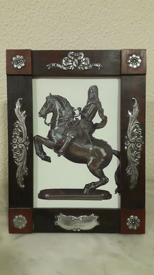 Rosewood Frame Richly Decorated in Silver, Portugal. 19th Century