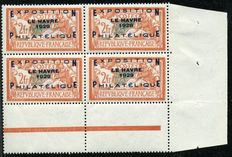 1929 France - Le Havre Philatelic Exposition, block of four with sheet corner, signed by Calves with digital certificate - Yvert N° 257A