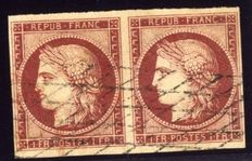 France 1849 - Cérès - non-perforated - pair of crimson 1F - cancelled - signed with Scheller certificate - Yvert n° 6