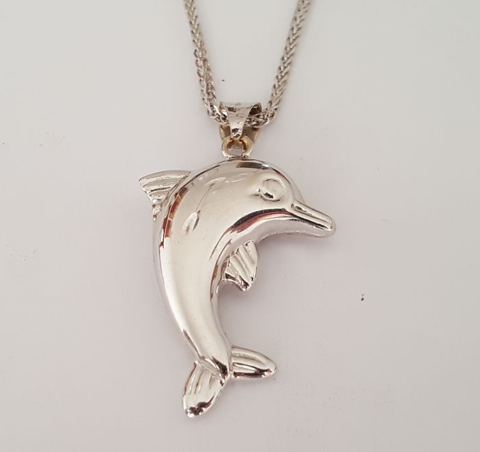 dolphin pendant with 18 kt white gold necklace catawiki