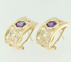18 kt gold clip-on earrings, set with amethyst and diamond