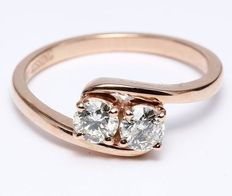 "Gold ring ""Made for Each Other"" Solitaire diamond ring in 14 kt hallmarked rose gold"
