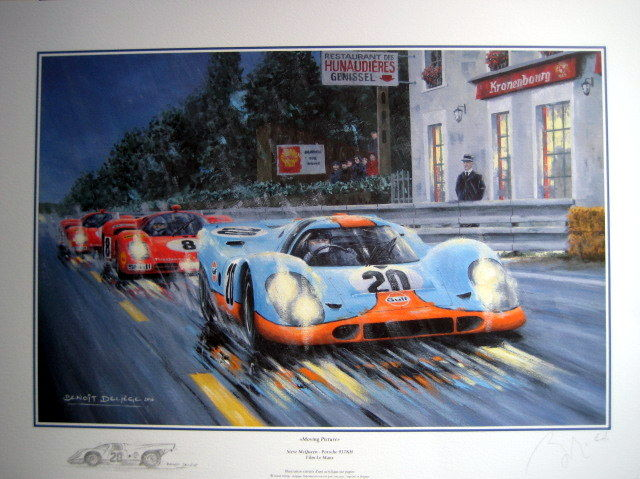 exclusive art print moving picture steve mcqueen porsche 917 kh film le mans artist proof. Black Bedroom Furniture Sets. Home Design Ideas