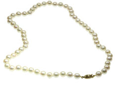 Single strand pearl necklace with yellow gold clasp