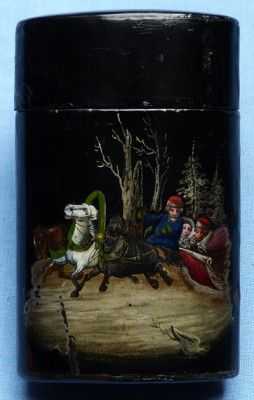 C.1900's Imperial Russian Lacquered Wood Christmas Scene Cigar Case