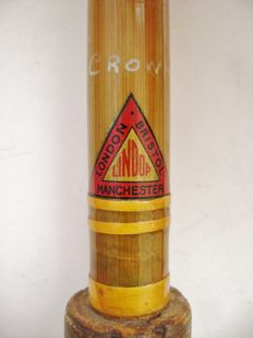 UNDOP, model Crown-A 3-piece vintage 8 ft  bamboo and split cane fishing rod - 1st half 20th century.