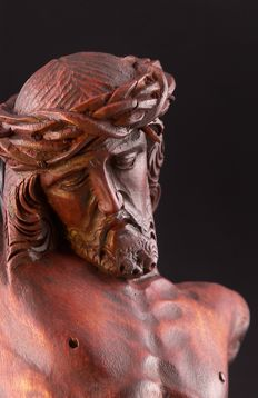 Antique and wonderful Christ in monochrome lacquered wood - Veneto area, Italy - early 19th century