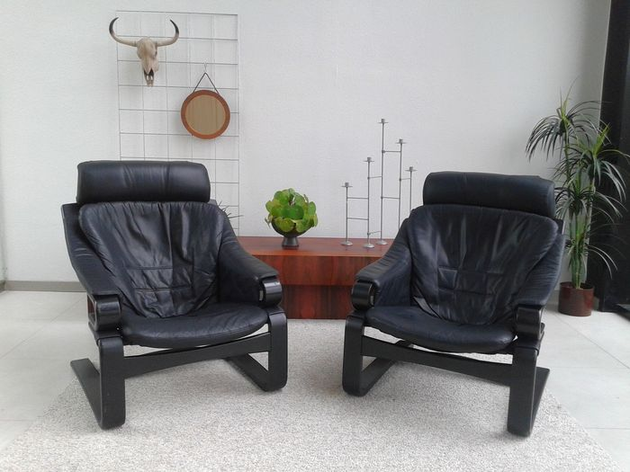 Skippers møbler u2013 model apollo 2 pieces u2013 black leather armchairs