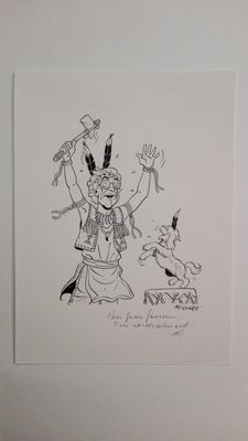 Tibet- Original Illustration in India Ink of a Man in Costume- (1997)