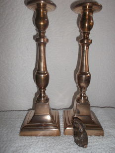 Pair of Very Large Brass Candlesticks - Flanders - 19th Century