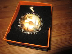 Antique pendant with miniature  painting with diamonds set in 585 and 800 gold