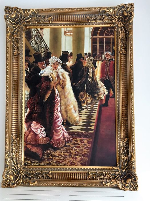 very nice nostalgic painting with heavy gilded frame