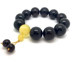 Tibetan wrist Mala Bracelet, Baltic Amber beads of 19.6 mm in diameter