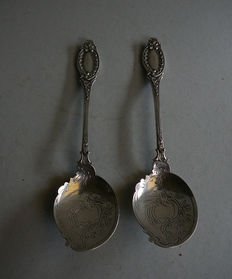Two silver serving spoons, Fa. J.M van Kempen & Zn, Voorschoten, 19th century