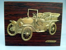 Mercedes-Benz - classic car 1903 - relief on wooden plate - 40 x 14 cm - around 1960