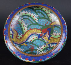 Antique, Chinese, cloisonné, dragon, brush washer – China – around 1930 (Republic period).