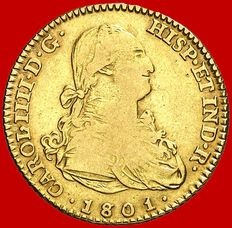 Spain – Charles IV (1788–1808) – 2-escudos gold coin – 1801 – Madrid
