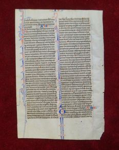 Manuscript; Illuminated handwritten page from a Medieval Bible - c. 1250