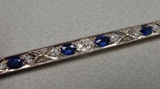 Antique, gold and platinum bar brooch with sapphires and diamonds