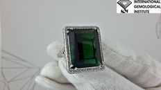 IGI 22.23 natural tourmaline and diamond ring 18 kt white gold