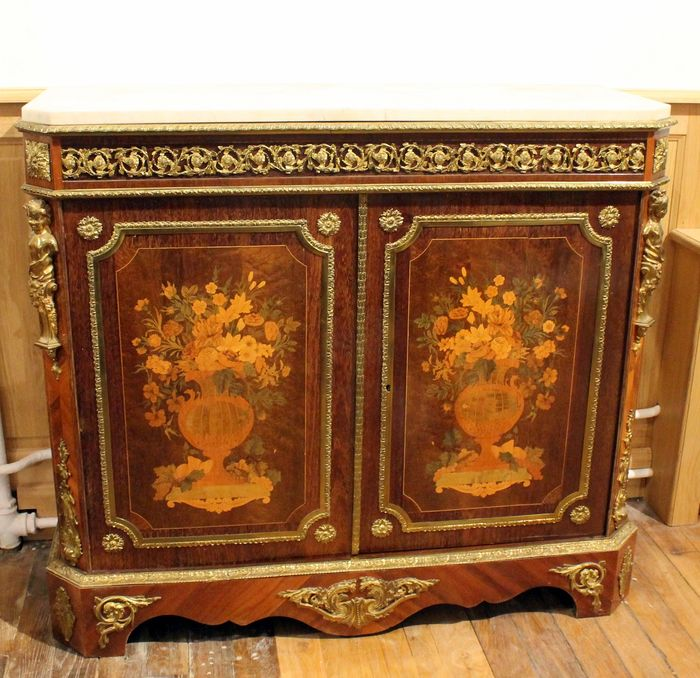 A Napoleon III gilt bronze mounted amaranth, tulipwood and marquetry meuble d'appui - stamped Mathieu Béfort; dit Béfort Jeune - France - circa 1870