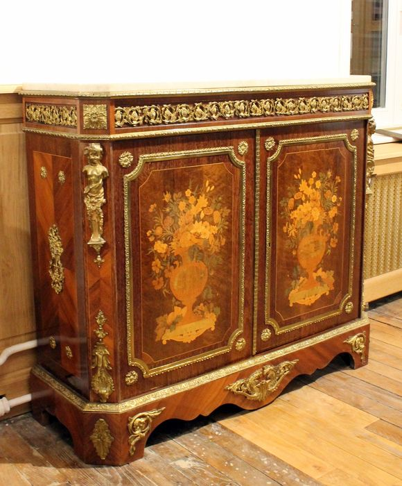 a napoleon iii gilt bronze mounted amaranth tulipwood and marquetry meuble dappui