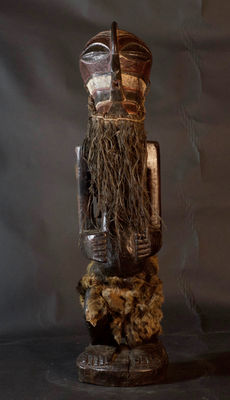 Tall African tribal statue with Kifwebe mask - SONGYE - D.R.C. Democratic Republic Congo