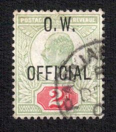 Great Britain Edward VII - 2d Green & Carmine OW Official Stanley Gibbons O38