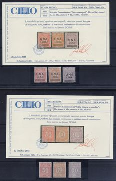 Italy 1913/1925 - Commission Service Kingdom overprinted Sassone 1/3 and 4/6 with certificate