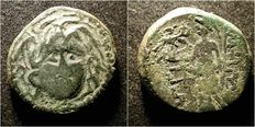 Greek Antiquity - King of Macedonia, Amphipolis. AE coin, 3rd-1st century BC. Medusa/Gorgon & Athena Nikephoros