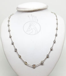 Antique style necklace, in 950 platinum - Degradé diamonds totalling 5.86 ct - Hand made in Italy
