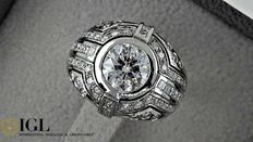 IGL 2.82 ct round diamond vintage  ring made of 18 kt white gold