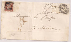 France 1849 – 1F dull Vermilion on a letter with Scheller certificate – Yvert no. 7B.