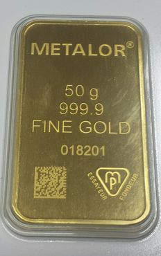 Gold bar, 50 gr, Metalor Switzerland, with certificate