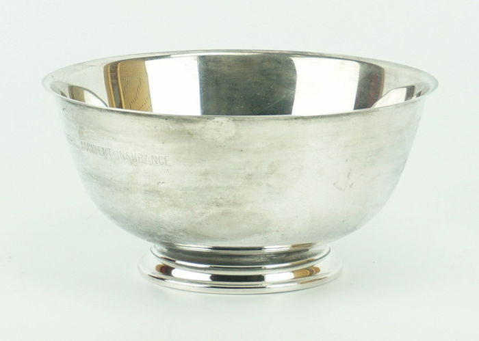 A large silver plated bowl
