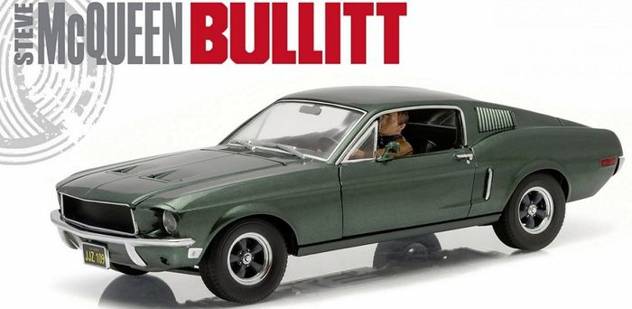 1:18 GreenLight Ford Mustang GT Bullit steve mcqueen 1968 with figure