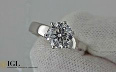1.51 ct D/VS2 round diamond ring 18 kt gold - size 7,5