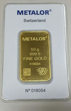 Gold ingot, 50 gr, Metalor Switzerland, with certificate